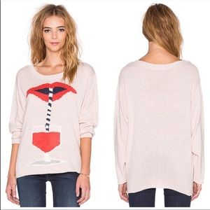 Wildfox Suck It Up Pink Lip Pullover Sweater Top
